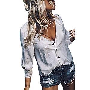 JUSTSELL 3/4 Langarmshirts T Shirt für Damen Winter, Frauen Einfarbig Pullover V-Ausschnitt Oberteile Button-down Bluse Slim Hüftslip T Shirt Tops