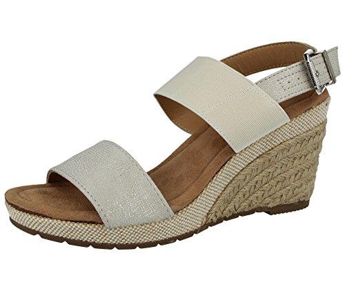 5de4750f024 Ladies Orange Grove Faux Leather Mid Wedge Raffia Fashion Sling Back Peep  Toe Summer Sandals Shoes