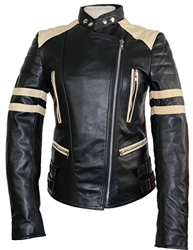 #Damen Retro Motorrad Lederjacke Schwarz / Weiß (M)#