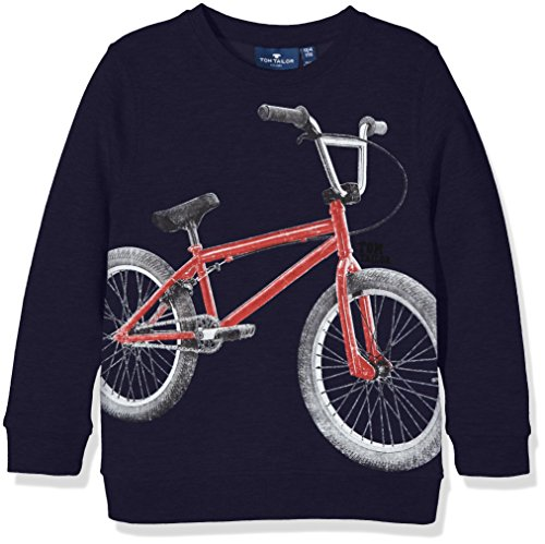 Tom Tailor Sweat with Front Print, Felpa Bambino, Blu (true dark blue 6811), 122 (Taglia Produttore: 116/122)