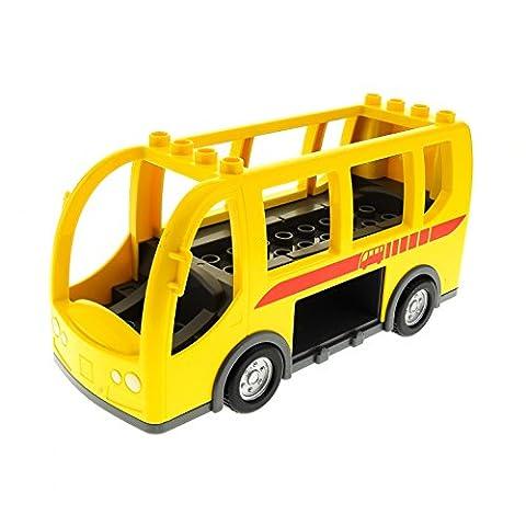 1 x Lego Duplo Auto Bus gelb neu-dunkel grau groß mit Transit Logo rot ohne Seiten Klappen für Set 5636 9207 60776 DupBusc01pb01