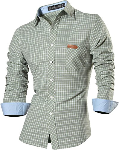 Jeansian Homme Chemises Casual Manches Longues Mode Men Tops Shirt Fashion Long Sleeves Slim Fit Dress Shirt 8615 green