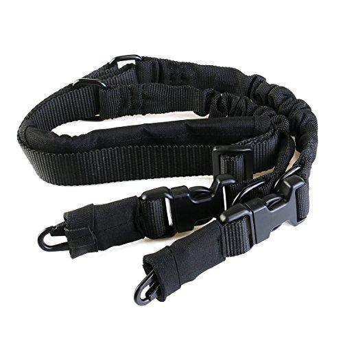 bestomz Tactical 2, Point Gun Sling escopeta con cordón ajustable cintas correa a dos puntos Militar Heavy Duty Airsoft Nailon para Sport al aire libre, caza, Black