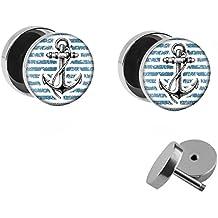 Stahl Steuerrad maritim Fake Plug Ohr Piercing Schmuck Schwarz Silber Anker