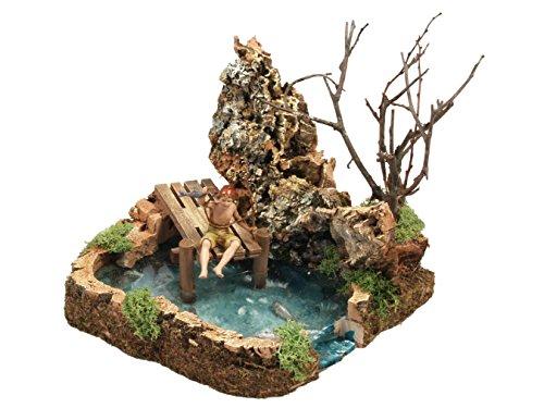 Bertoni statuetta lago con pescatore, legno, 19x 17x 18cm