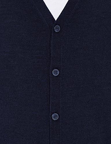 MERAKI Merino Strickjacke Herren mit V-Ausschnitt Blau (Navy)