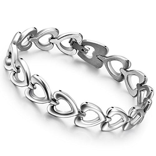 cupimatch Herren Damen 10 mm breit Versprechen der Liebe Edelstahl Silber Poliert ausgehöhlten Herz Link Kette Paar Armband 20cm