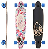 BIKESTAR Premium Canadian Maple Drop Through Flush Cut Pro Longboard Skateboard für Kinder und Erwachsene auch Anfänger ab ca. 12 - 14 Jahre ★ 75mm Downhill/Freeride/Race Edition ★ Peace And Love Design
