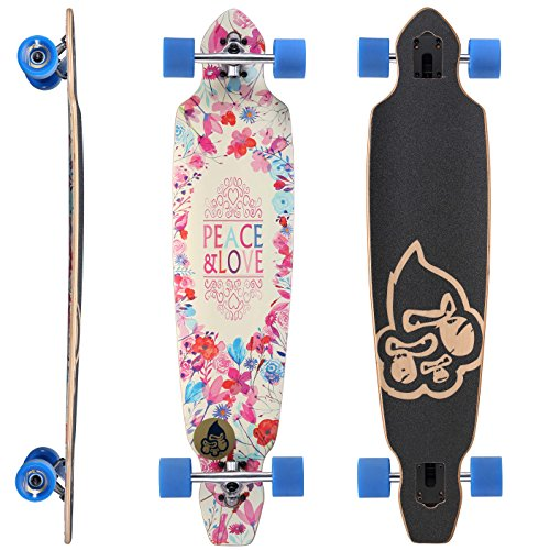 STAR-SKATEBOARDS® Premium Canadian Maple Drop Through Flush Cut Pro Longboard Skateboard für Kinder und Erwachsene auch Anfänger ab ca. 12 - 14 Jahre ★ 75mm Downhill/Freeride/Race Edition ★ Peace And Love Design (Bushings Downhill)