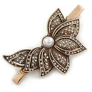 Avalaya, Haarklammer/Haarspange, Vintage-Stil, österreichischer Kristall, halbe Blume, bronzefarben, Länge: 80 mm