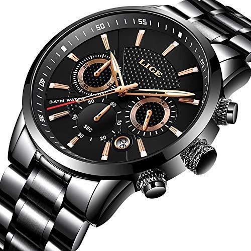 LIGE Herren Armbanduhr Quarz Chronograph Datum Militär mit Edelstahlband Schwarz Wasserdicht