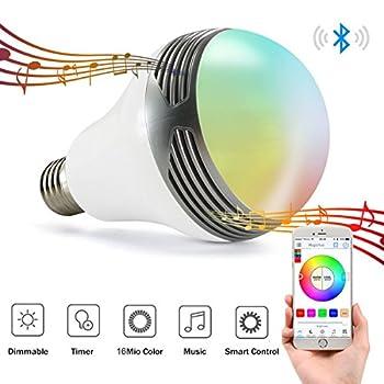 Magichue Neu Farbige Leuchtmittel Sunset Smart Led Bluetooth Lampe Dimmbar Sonnenuntergang E27 Und E26 16 Mio Farben Fuer Android Und Ios (6w Farben Lampe+3w Speaker) 0