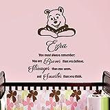 Vinyl Wandtattoo Zitat You Must Always Remember You Are Braver Winnie Puuh the Pooh mit Namen für Mädchen Junge Kinder Baby Bär Wandaufkleber Wandsticker Wanddekoration Kinderzimmer Babyzimmer A521