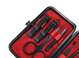 10 Pc Black Stainless Steel Manicure Set With Luxurious Leather Case - Grooming