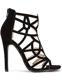 Shoe Closet Señoras Negro Gamuza Enjaulado Peep Toe Bloque del Alto Talón Tobillo Zapatos UK3/EURO36/AUS4/USA5 kDNLT