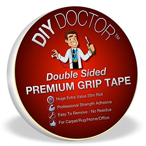 DIY Doctor DDT Doppelseitiges Teppich-Gripper-Klebeband, 20 m x 21 mm - Glauben Kinder Teppich