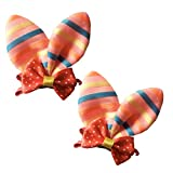 Brand New Baby Girl Hair Clips Toddler Infant Hair Accessories Bowknot Butterfly Design Hair Clips Set of 2 (Coral Stripe)