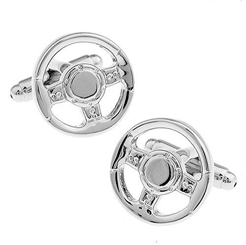 Ein Paar Silber Lenkrad Manschettenknöpfe MIT PRÄSENTATIONS GESCHENKKASTEN - Massives Messing - Rhodium überzogenes
