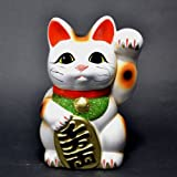Made in Japan Lucky Cat 16 cm Tokoname Porzellan weiß Maneki Neko Linke Hand