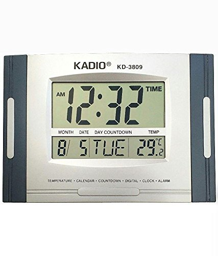 Digital Wall Cum Desk Clock with Temperature Display KD-3809
