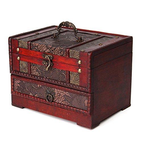 Charminer-holz-groen-schmuck-Kiste-mit-Spiegel-2-Schichten-Kosmetische-Koffer-holz-Schmuckschatulle