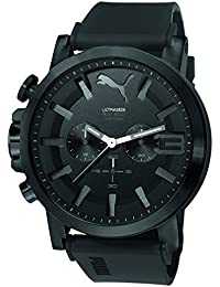PUMA Ultrasize 50 Bold Chrono Men's Quartz Watch with Black Dial Chronograph Display and Black Silicone Strap PU103981002