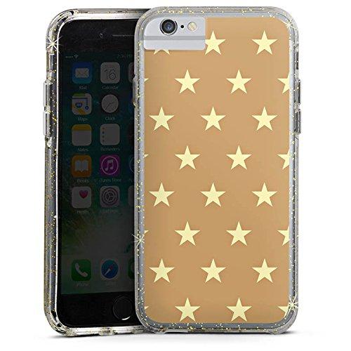 Apple iPhone X Bumper Hülle Bumper Case Glitzer Hülle Sternchen Pattern Muster Bumper Case Glitzer gold