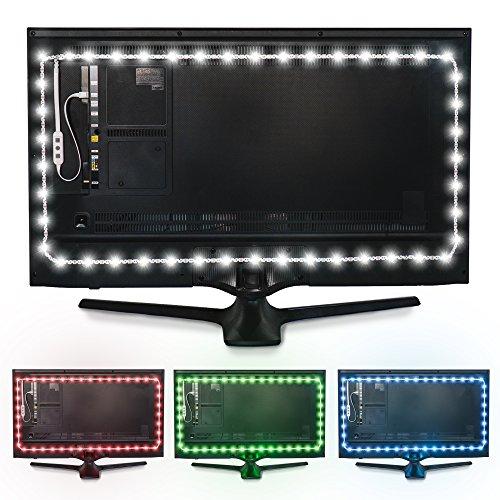 Luz de Fondo en Color Luminoodle para TV -Mando a Distancia & Controlador Incorporado - Tira Adhesiva de luz Ambiente LED RGB con alimentación USB para Pantallas Planas LCD y monitores PC (3 Metros)