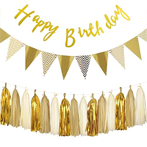 Gold Geburtstag Dekoration Set,Happy Birthday Banner, Paper Pennant Banner Triangle Flags With Tissue Paper Tassels Garland Paper Garland Birthday Decoration kindergeburtstag deko (Gold Birthday Banner Happy)