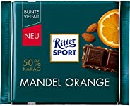 12 x Chocolade Reep Ritter Sport Puur Amandel Sinaasappel 100 gram