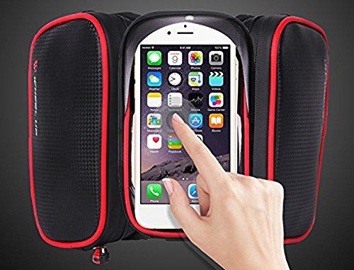 PINKAH Wasserdichtes/reflektierendes Design Bike Front Beam Package mit TPU Touch Screen für Handy 6.2 Zoll oder unten Schwarz/Rot