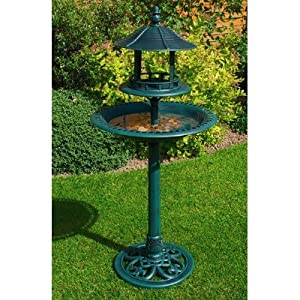 Resin Ornamental Bird Bath & Feeder Table. Weather, Rot Proof. No Tools Assembly