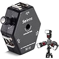 Selens SE-31 Universal 3-Wege Hotshoe Blitzschuh Adapter Blitzhalter mit Schirm Loch für Canon/Nikon/Yongnuo Blitz