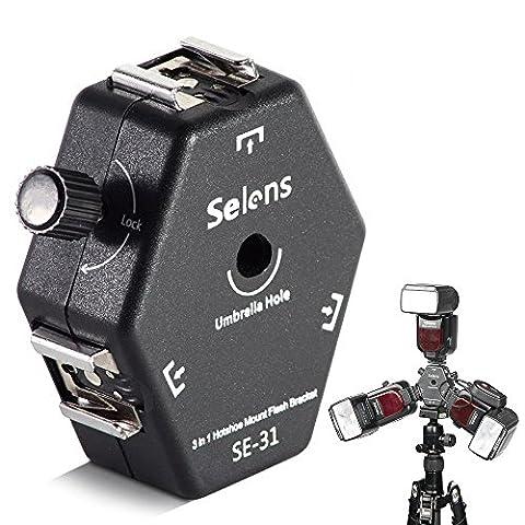 Selens Flexible Universal 3-Way Hot Shoe Mount Light Stand Flash Bracket with Umbrella Holder for Canon/ Nikon/ Yongnuo (SE-31)