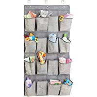 mDesign Organizador de tela para colgar sobre la puerta con 16 bolsillos – Colgador de puerta para ropa de bebé y artículos de bebés – Estantería colgante para almacenar juguetes – gris