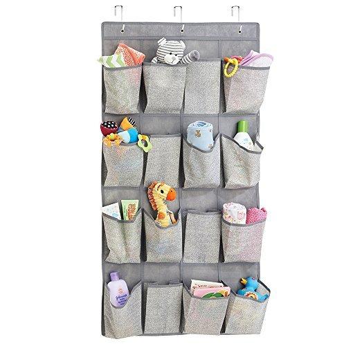 mDesign Fabric Baby Nursery Closet Organizer for Stuffed Animals, Toys, Wipes - Over Door, 16 Pockets, Gray