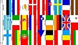 5ft x 3ft (150 x 90 cm) 27 Euro European Nations Countries 100% Polyester Material Flag Banner Ideal For Club School Business Party Decoration Eurovision by Flag Co