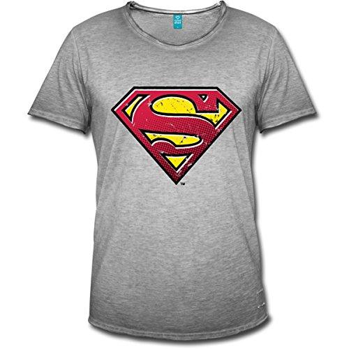 Spreadshirt DC Comics Superman Logo Used Look Männer Vintage T-Shirt, XL, Vintage Grau