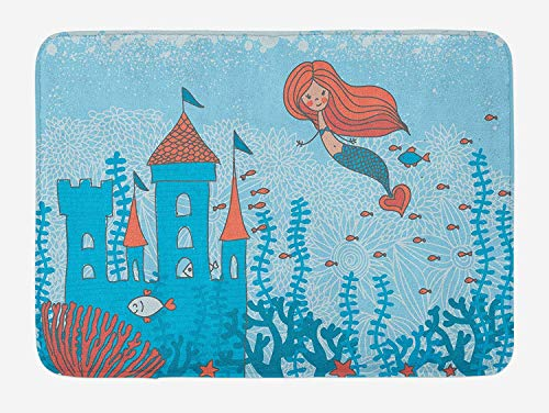 HLKPE Mermaid Bath Mat, Art of Little Mermaid Under The Sea in Corals with Castle and Little Fish Print, Plush Bathroom Decor Mat with Non Slip Backing, 23.6 W X 15.7 L Inches, Teal Orange
