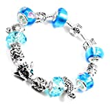 Nambeads.. Pandora style silver plated charm bracelet with Ocean theme. Turquoise, Blue beads... Fish, Turtle, Seahorse & Tibetan Charms & clip stopper.. The bracelet is supplied in a very nice gift box so a beautiful present for any occasion.