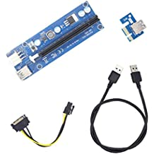 Marktol PCIE PCI-E 1x to 16x Powered Riser Tarjeta Adaptador Cable extensor de minería máquina Enhanced 60 cm USB 3.0 SATA 15 pin-6pin