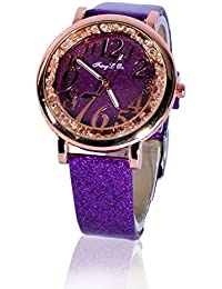 Fusine™ Fashion Double Stone Studded 3D Leather Analog Watch For Women (Round) Party Wear (Purple)