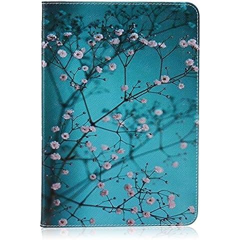 zhengdu Árbol de ciruelo diseño de patrón funda de piel sintética funda con función de atril para Samsung Galaxy Tab A 9.7(SM-T550