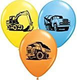 "Trucks & Diggers Party Construction Trucks Assorted 11"" Latex Balloons x 5"