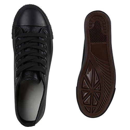 Glänzende Damen Sneakers Metallic Glitzer Pailletten Flats Turnschuhe Schwarz Noir