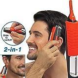 Romote Mann 2 in 1 Doppel Mitre Clipper Micro Haarschneider Persönliche Barthaarschneider Rasierer Grooming Anti-Rutsch-Griff mit LED-Licht