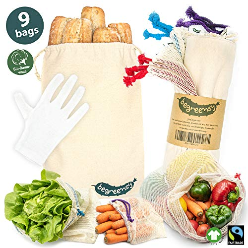 Begreensy Obst und Gemüsebeutel Brotbeutel 9er Set aus Bio-Baumwolle (GOTS), incl. Baumwollhandschuh zum Brot, Wiederverwendbare Zero Waste Organic Produce Bags, Eco Friendly Shopping Nets,