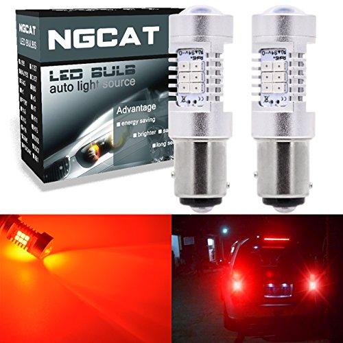 ngcat Auto-LED Leuchtmittel 21157205723577528BAY15d 283521SMD Chipsätze LED Leuchtmittel mit Objektiv Projektor Bremse Drehen Signal Schwanz Backup Reverse Lichter, rot 10–16V 10,5W