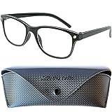 Line Nerd Lesebrille mit großen Gläsern - mit GRATIS Etui und Brillenputztuch   Kunststoff Rahmen (Schwarz)   Lesehilfe für Damen und Herren   +1.0 Dioptrien