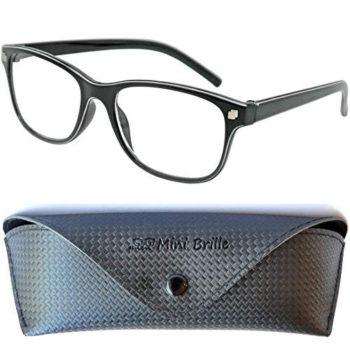 Line Nerd Lesebrille mit großen Gläsern - mit GRATIS Etui und Brillenputztuch | Kunststoff Rahmen (Schwarz) | Lesehilfe für Damen und Herren | +1.5 Dioptrien